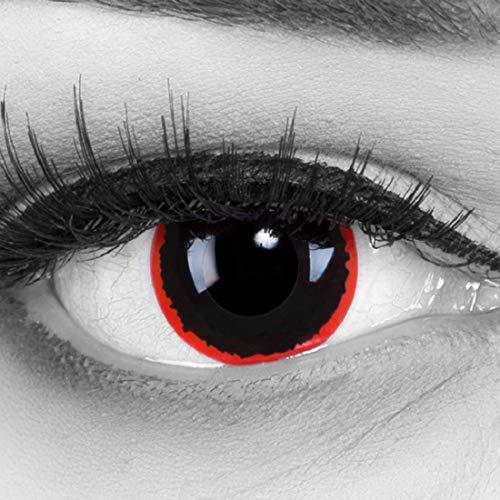 Farbige schwarze mit rotem Rand Crazy Fun Kontaktlinsen crazy contact lenses Exorcism 1 Paar. Mit gratis Linsenbehälter + 60ml Pflegemittel