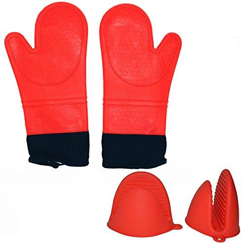 4AHero-Innovations Ofenhandschuhe Set 1 Paar Backhandschuhe mit Baumwolle Topflappen Set aus Silikon,2er Silikon Topf-Hand-Schuhe - rote...