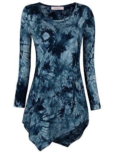 WAJAT Damen Langarm T-Shirt Asymmetrisch Hem Tunika Stretch Navy M