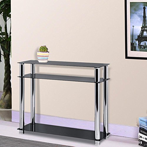 Popamazing Modern 3 Tier Black Glass Hallway Console Table Stainless Steel Frame Entryway Furninture