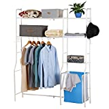 Lifewit Kleiderständer Metall Kleiderschrank Garderobenständer Regal mit Kleiderstange 3 Ablagen Wäschekorb Wäschesammler