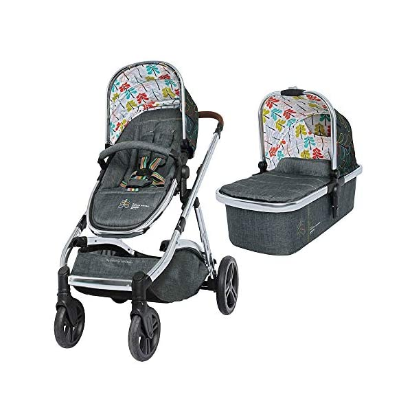 Cosatto Wow XL 3-in-1 Pram and Pushchair, Suitable from Birth - 25 kg, with Tandem Mode and Buggy Board- Nordik Cosatto The flexible family unit, Wow XL has the capability, straight out of the box, to be used as a single child travel system (3-in-1) or as a double/tandem for an older sibling too, with no need to buy any extras (box includes: 1 x Carrycot and 1 x Seat unit) The spacious carrycot is comfy, with extra padded mattress and apron; easy to manoeuvre with one handed pushbutton carrycot release; swap the from-birth carrycot to reversible pushchair seat when they're ready to sit up; the single pushchair mode supports up to 25 kg so your toddler can use it for even longer; with the added ease of one-handed seat unit recline and integrated calf support; the fully extendable hood with visor is 100 UPF and has a peep hole to keep an eye on little ones High-quality craftsmanship; from woven textured fabrics and discoverable details, to gleaming chrome chassis from significant leatherette handle to exquisite embroideries and felt appliques; each design comes with two cuddly travelling companions, straight from Cosatto's famous storytelling pattern; when you explore together, anything can happen 4