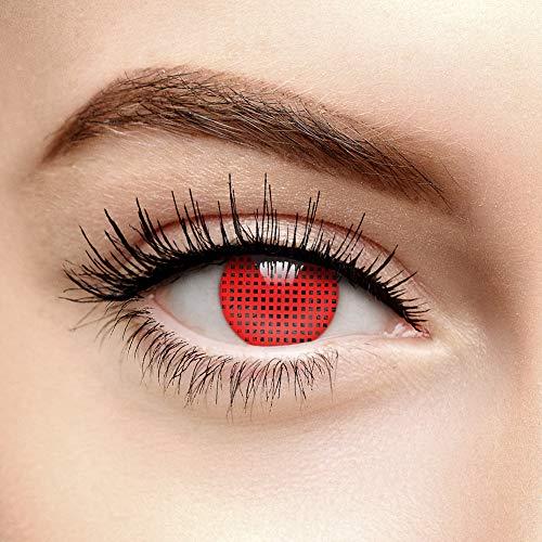 Chromaview Halloween Farbige Kontaktlinsen Ohne Stärke Raster Rot (90 Tage) (Kontaktlinsen Kosmetische Halloween)