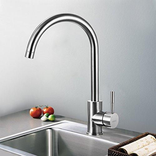 KINSE® Küchenarmatur Mischbatterie 304 Edelstahl Küche Armatur Wasserfall Spültischarmatur 360 Grad Drehung