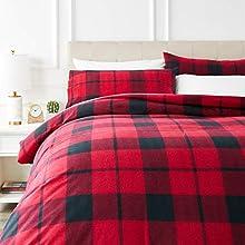 AmazonBasics Flannel Duvet Cover Set - 200 x 200 cm / 50 x 80 cm x 2, Red Plaid