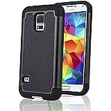 SAVFY® Coque Anti-Choc pour Samsung Galaxy S5 Mini + FILM D'ECRAN + STYLET OFFERTS! Housse Etui Anti-poussière solide surface + Soft Souple Defender pour Samsung Galaxy S5 Mini SM-G800 (Wifi/3G/4G/LTE) - Noir