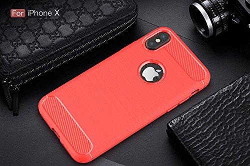 iPhone X 5.8 Custodia,2ndSpring Protettiva Case Cover Nero Custodia iPhone X 5.8 Silicone Molle Cover per iPhone X 5.8 Smartphone Soft TPU Case Rosso
