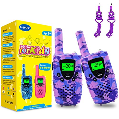 Talkie Walkies Enfants 8 Canaux Écran LCD et Lampe de Torche, Two Radio Longue Portée 4 Kilomètres Max, Cadeau pour Les Jouets de Garçons Filles,Violet Camo,1 Paire
