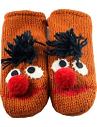 Nepalese Sesame Street Mittens 100% Wool Hand Made Adult Size - Ernie Yellow