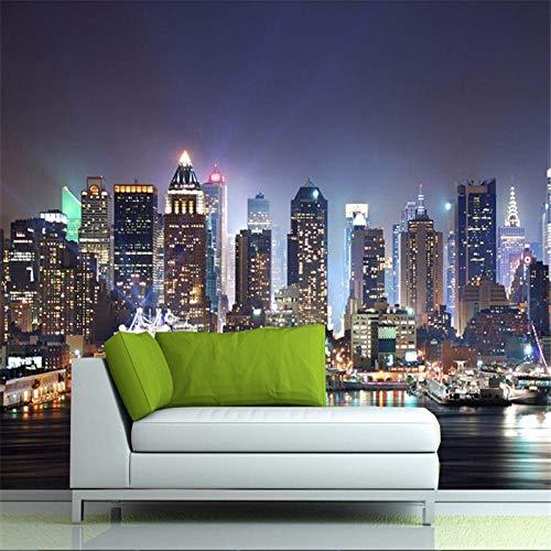 Sucsaistat Manhattan 3D Tapete, New York City-Wandtapeten-Nachthintergrundlandschaft Fernsehschlafsofa-Raumdekor,250 * 175Cm