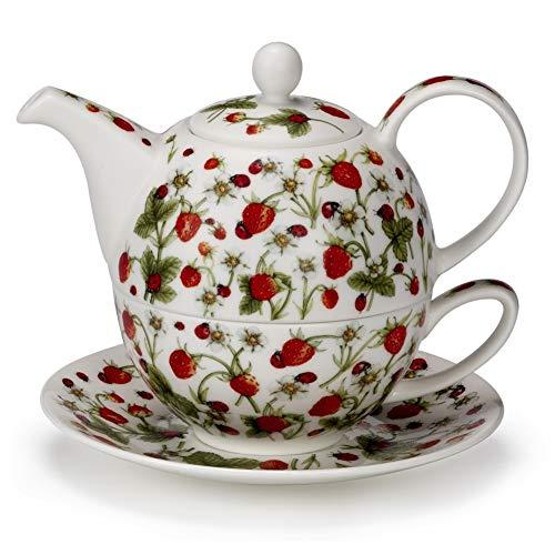 DUNOON Ziemlich Dovedale Erdbeer Ladybird Fine Bone China Tee für einen Teekanne Cup Saucer Set Fine China Teapot