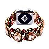 Kobwa für Apple Uhr Band Hand Vintage Faux Kristall Stein Strass Perlen Armband Handschlaufe iWatch Ersatz Bands für Series 2Series 1, rose