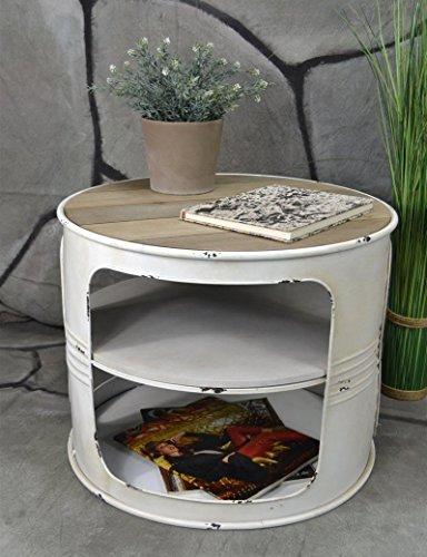 Livitat® Couchtisch Beistelltisch Weiß Metall Ölfass Vintage Industrie Look LOFT Shabby