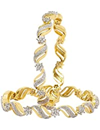 Quail Alloy Zig Zag Gold Plated American Diamond Bangle Set For Women & Girls