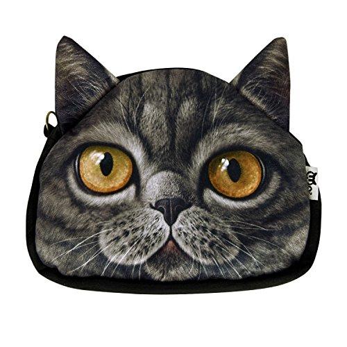 West See Kleine Damentasche Katze Umhängetasche Citytasche Schultertasche Handtasche, Farbenwahl (Schwarz)