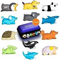 Aitsite Câble Bite Cute Animal Bites Protège de Charge pour Téléphone (12-Pack, Hérisson + Panda + Caméléon + Chat + Requin-Baleine + Dauphin + Orque + Pingouin + Koala + Ecureuil + Mouton + Souris)