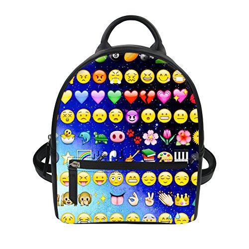 Kleiner Rucksack Emoji Motiv Leder Rucksack Handtaschen Damen Tagesrucksäcke Schulrucksäcke Mini Rucksack Casual Daypack Schulranzen Blau2 EINE Size