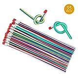 Locisne 35 paquets de crayons souples flexibles, crayons de courbure magiques pour l'amusement scolaire d'enfants, salles de classe, prix, cadeaux de partie