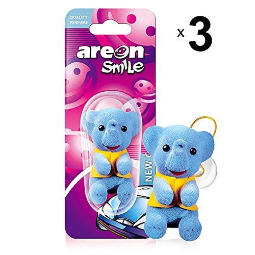AREON Smile Deodorante Auto Nuova Elefante Blu Divertenti da Appendere Specchietto Retrovisore Simpatici 3D (New Car Confezione da 3)