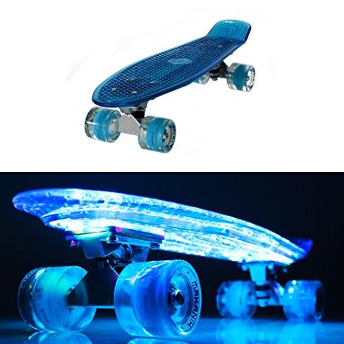 MAKANIH LED Skateboard mit Leuchtrollen, leuchtend, Stahl Kugellager Penny Style Longboard street cruiser beleuchtung LED Rollen retro cruiser - 1 Jahr Herstellergarantie (57 cm blau)
