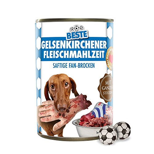 Preisvergleich Produktbild Hundefutter - Gelsenkirchener Fleischmahlzeit - Dortmund-,  Bayern und alle Fußball-Fans aufgepasst! - Eine lustige Fußballfan-Geschenkidee von Ligakakao.de - Der fiese Fanshop! Witzige Geschenkidee zum Verschenken und Verfüttern - Futtermittel,  Futter,  Hundenahrung,  Alleinfuttermittel für ausgewachsene Hunde
