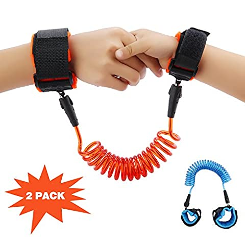 Lovebay 2 Pack Child Anti lost Safety Link Straps Wrist Harness Walking Hand Belt With Breathable Cotton Straps ,Double Layer Safety hook and Loop For Kids, Toddlers [5 ft & 8.2 ft]