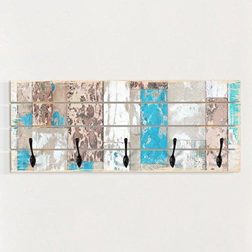 Bilderwelten Wandgarderobe Holz - Maritime Planks - Haken Schwarz - Quer, Garderobenpaneel Holzpaneel Kleiderhaken Flurgarderobe Hakenleiste Holz Hängegarderobe inkl. Haken, Größe HxB: 40cm x 100cm