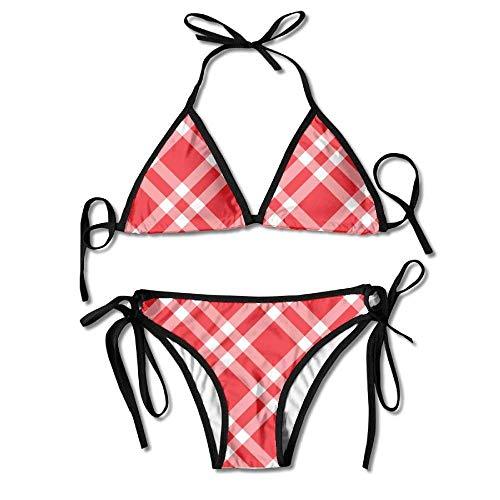 Red and White Stripes Women's Tie Side Bottom Bikini Suits Two Pieces Swimwear White Stripe Bow Tie
