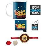 Yaya Cafe Rakhi Gifts Combo For Brother With Rakhi, Starry Squirrel Big Bro Brother Mug Mug, Coaster, Mousepad, Keychain, Engraved Wooden Rakhi Set Of 5