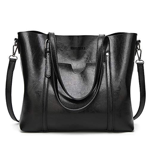 BestoU Damen Handtasche Leder Tasche Shopper Damen Handtaschen Groß Schule Schultertasche Frauen Umhängetasche (Schwarz)