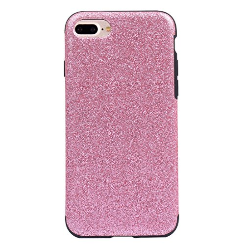 Hülle für iPhone 7 plus , Schutzhülle Für iPhone 7 Plus Soft TPU Schutzmaßnahmen Glitzer Puder PU Paste Haut Fall ,hülle für iPhone 7 plus , case for iphone 7 plus ( Color : Black ) Pink