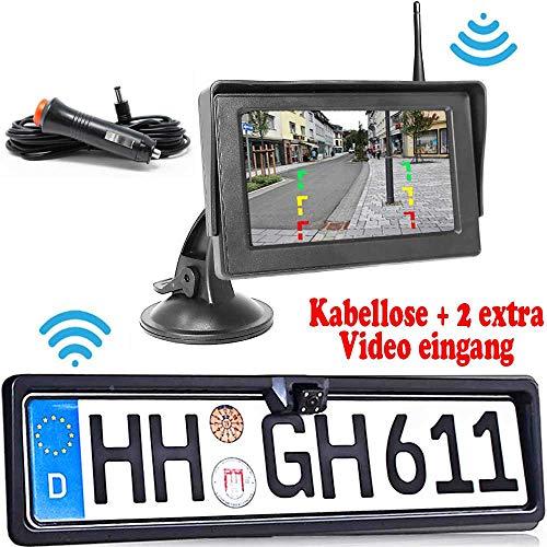 HSRpro® Kabellos Wasserdichter Farb Rückfahrkamera - Bis zu 5 Jahre Garantie mit Nachtsicht und Monitor für Auto KFZ PKW Klein Bus Kamera Car Camera