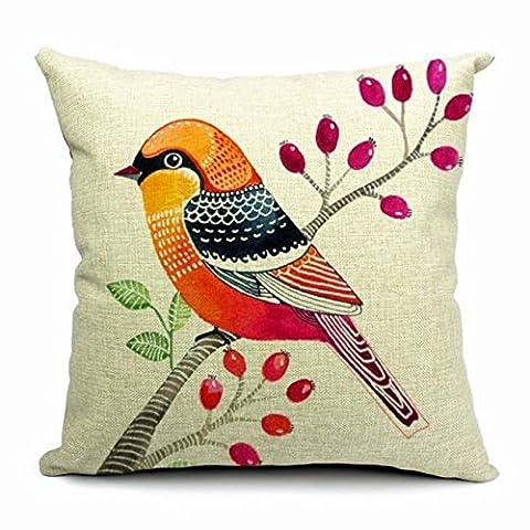 L'éditeur (TM) Orange Imprimé oiseau coloré en coton (17,7 X
