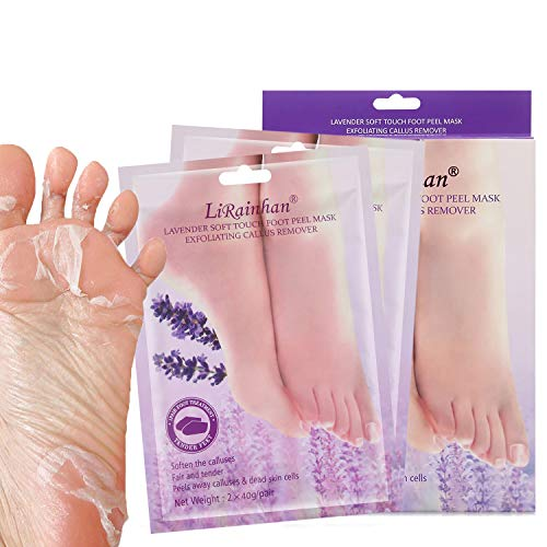 Lanboo Exfoliating Booties for Peeling Off Calluses & Dead Skin, Baby Your feet, for Men & Women, 2 pairs (Lavender)