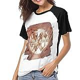 Photo de Kmehsv Walls of Jericho Relentless Womens Short Sleeve Raglan Baseball T-Shirt Black par Kmehsv
