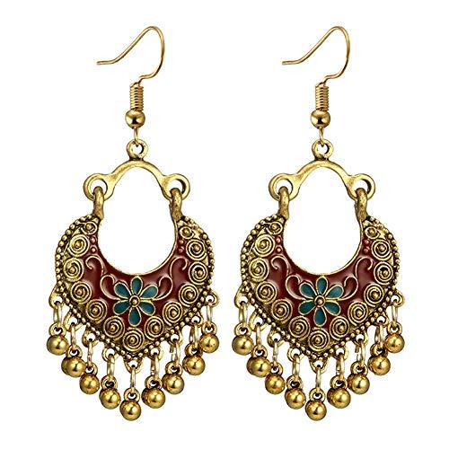 longyitrade Damen Ohrringe Boemia Blumen Glocke Nappa Emaille Geschenk für Bankette D'oro + Rosso -