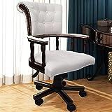 SENLUOWX Chesterfield Sessel Büro lenkbar weiß Material: Mischgewebe-Leder spezielle Bürostuhl