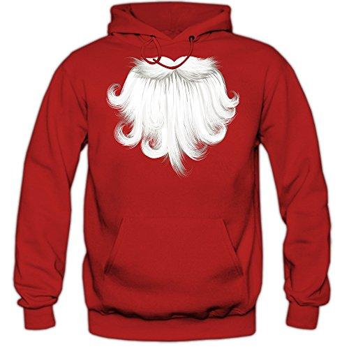Babbo Natale Barba Felpa Con Cappuccio | Uomo | Santa Claus | Christmas | Xmas | Festa di Natale | Hoody, Farbe:Rot (Red F421);Taglia:X-Large