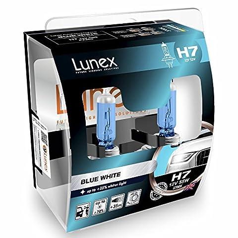 LUNEX H7 Blue White Scheinwerfer Halogenbirnen Lampen Blauer Effekt 477 12V 55W PX26d 3700K duobox (2 (Elektrische Breaker Ersatz)