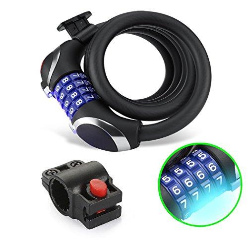 Bike Lock Kabel Cycle Sicherheit Kabel BASIC selbst mit rücksetzbaren Kombination Kabel Bike Locks mit Halterung -