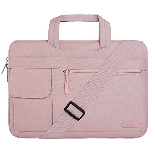 MOSISO Laptoptasche Kompatibel 15-15,6 Zoll MacBook Pro, Ultrabook Netbook Tablet, Polyester Flapover Art Laptoptasche Sleeve Hülle Umhängetasche mit Griff und Schultergurt, Rosenquarz (Hp 15-zoll-envy)