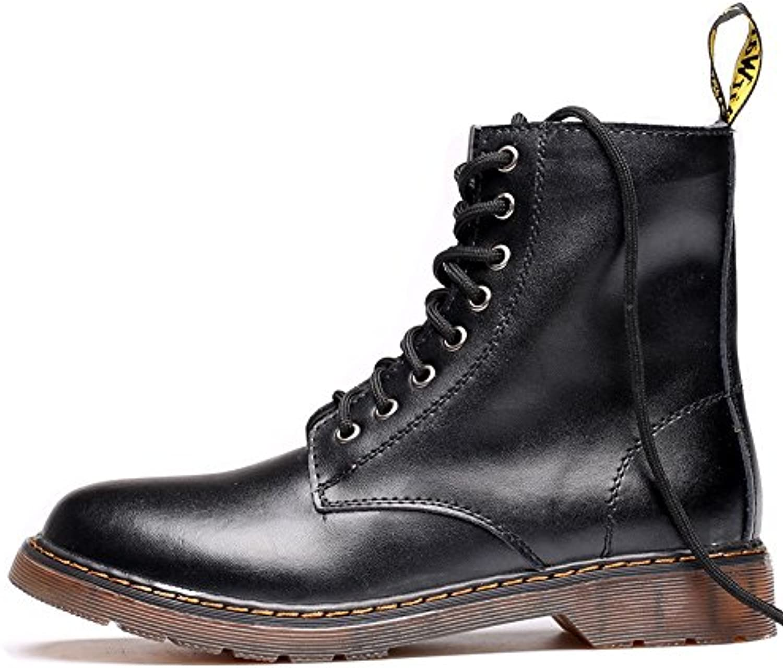 Best Choise Herrenschuhe Klassische Leder Schnürschuhe Oxfords High Top Boots für Herren Draussen ( Color : Black