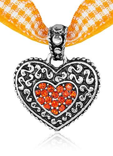 Kinder Trachten Halskette kariert mit Herz Anhänger Orange - Süßer Schmuck für Mädchen zu Dirndl und Kleidern Orange Karierte