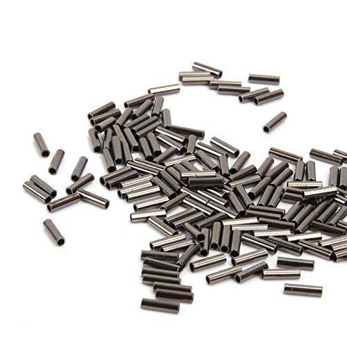 Jshanmei ® 100pcs Black Nickel Wire Crimp Sleeves Single Brass Barrel Sleeve Clips / Single Trou Tube en Cuivre
