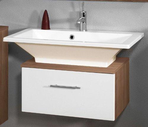 Badezimmer Waschplatz »LEON« 2tlg Hochglanz weiß - Zwetschge