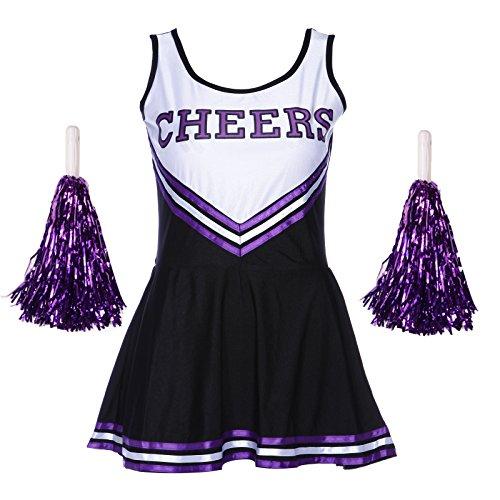REDSTAR LADIES CHEERLEADER COLLEGE SPORTS FANCY DRESS OUTFIT WITH POM POMS HIGH SCHOOL MUSICAL HALLOWEEN PARTY COSTUME (Purple & Black, 14-16 L) (School High Musical-halloween-kostüme)