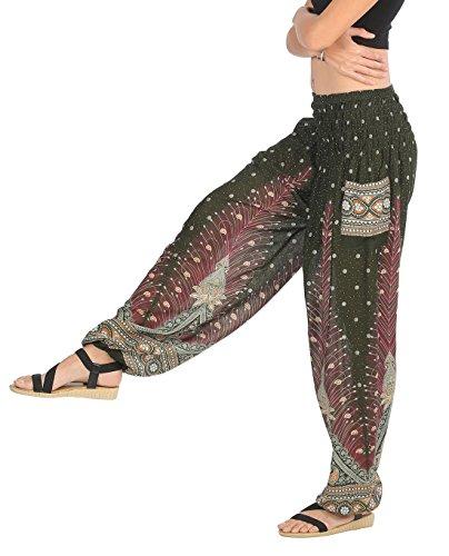 CandyHusky Haremshosen für Frauen Aladin im Hippy, Bohemian, Zigeunerstil für den Sommer am Strand oder als Yogahosen, Einheitsgröße Pfauenfeder Olive