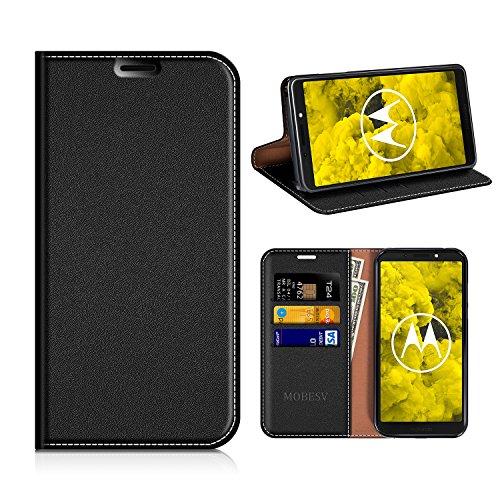 MOBESV Moto G6 Play Hülle Leder, Moto G6 Play Tasche Lederhülle/Wallet Case/Ledertasche Handyhülle/Schutzhülle mit Kartenfach für Motorola Moto G6 Play - Schwarz