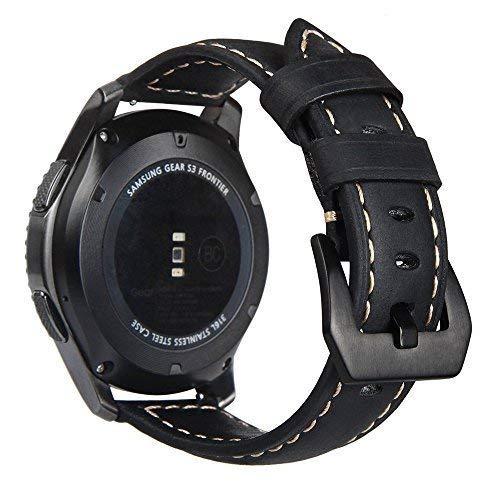 Potenziato® per Samsung Gear 3Classic Smart Watch Band 22mm, cinturino in vera pelle di ricambio con fibbia di ricambio per...