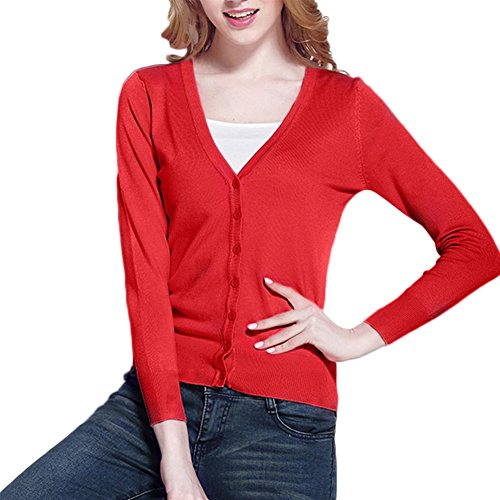 AJ Fashion femmes col V manches longues basique pull solide Tricot Cardigan boutonné Rouge
